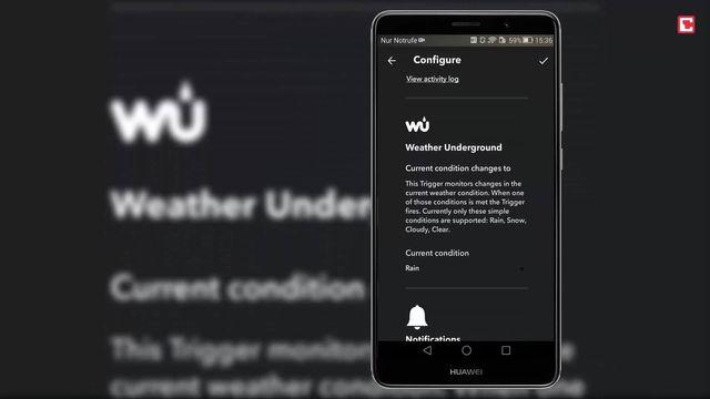 Realtime Rain Notification: IFTTT Applet gegen den Regen
