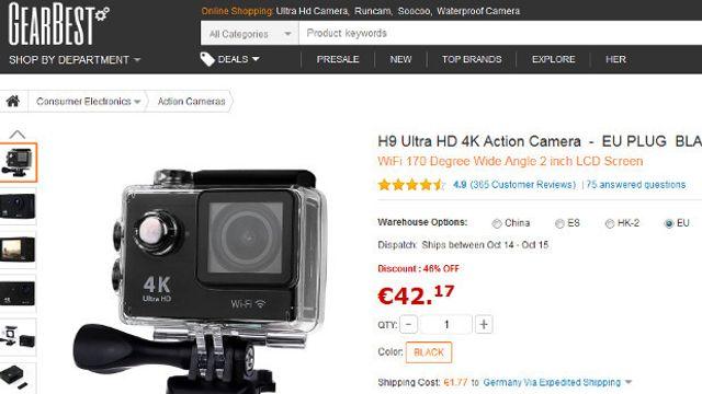 4K-Actioncam H9 für 45 Euro