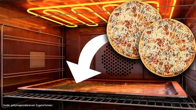 Zwei Pizzen auf einem Blech backen